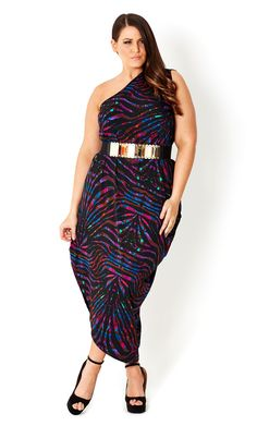 Plus Size Printed One Shoulder Dress - City Chic Diva Fashion, Curvy Fashion, Plus Size Fashion, Fashion Looks, Fashion Ideas, Womens Fashion, Day Dresses, Plus Size Dresses, Plus Size Outfits