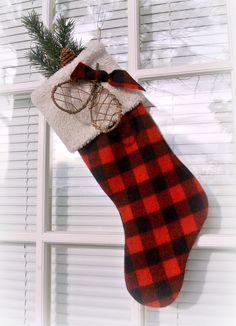 RUSTIC RED & BLACK Wool Plaid Snow Shoe Christmas Stocking