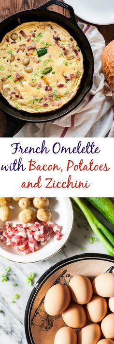 French Omelette with Bacon, Potatoes and Courgettes that is easy, quick and delicious.