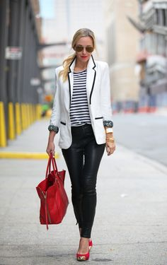 striped top with blazer and leather pants