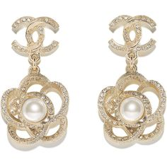 gold, pearly white crystal Chanel ❤ liked on Polyvore featuring jewelry, earrings, gold jewelry, costume jewellery, crystal stone jewelry, crystal jewellery and yellow gold jewelry