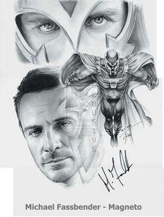 Michael Fassbender - Magneto by on DeviantArt Marvel Vs, Marvel Heroes, Michael Fassbender Magneto, Erik Lehnsherr, Charles Xavier, Virtual Art, Illustrations And Posters, Xmen, Music Artists