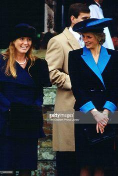 Princess Diana Princess of Wales and Sarah Ferguson Duchess of York attend the Christmas service...