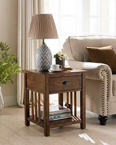 Craftsman Side Table with Charging Station in Canyon Oak