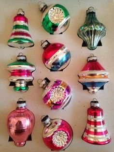 vintage shiny brite glass xmas ornaments double indents lantern ufo bells iob
