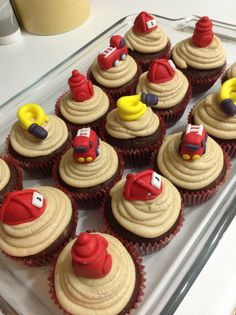 Firefighter themed cupcakes for my nephew's 3rd birthday.