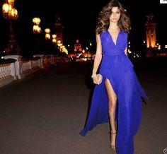 V-neck Sleeveless Sexy Split Chiffon Long Dress