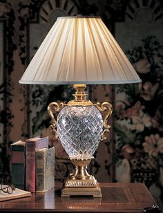 fine crystal lamps; room decor with beautiful traditional table lamp; decorating; lovely vignettes