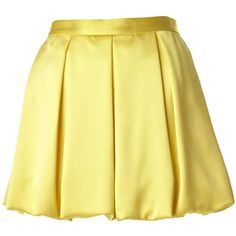 Alice + Olivia Rhymes Mini Bubble Skirt ($178) ❤ liked on Polyvore featuring skirts, mini skirts, bottoms, saias, yellow, yellow mini skirt, bubble mini skirt, long skirts, rayon skirt and yellow skirt