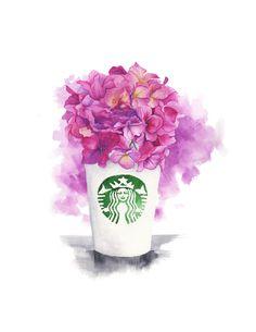 Starbucks & flowers | Watercolor & ink Illustration | Art print & Posters | Koma Art - Thumbnail 3