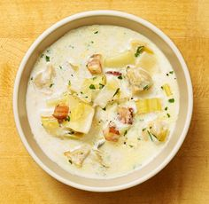 This is a basic New England clam chowder, though with leeks used in place of the traditional onions, and a splash of wine to add a floral note. Also: thyme. Very continental! (Photo: Sarah Anne Ward for The New York Times)