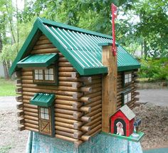 Large Log Cabin Mailbox, handcrafted from logs, green metal roof mailbox, log cabin mailbox with hand painted windows and doors