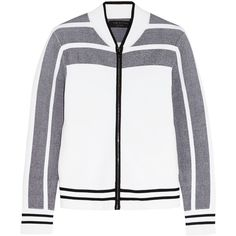 Rag & bone Sammi jacquard-knit bomber jacket ($240) ❤ liked on Polyvore featuring outerwear, jackets, coats & jackets, coats, tops, white, rag bone jacket, jacquard jacket, rag & bone and slim jacket