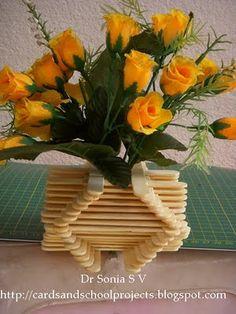 Cards ,Crafts ,Kids Projects: Popsicle Stick Craft - DIY Flower Vase