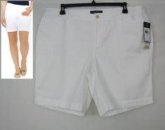 LRL Lauren Jeans Co. Women's Cotton Bermuda White Shorts Plus Sizes 16W, 20W NEW #LRLLaurenJeansCo #BermudaWalking 29.99