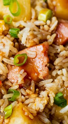 Hawaiian Fried Rice with Easy Sweet and Sour Sauce ~ It's made with big chunks of ham and pineapple, veggies and an addicting sweet and sour sauce