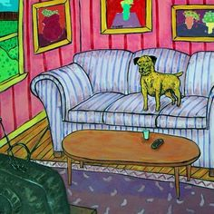 border terrier watcing tv animal dog art tile coaster gift
