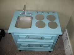 Adventures in Crafting : DIY Play Kitchen Toddler Play Kitchen, Childrens Play Kitchen, Diy Play Kitchen, Play Kitchens, Mini Kitchen, Toy Kitchen, Refurbished Furniture, Upcycled Furniture, Kids Furniture