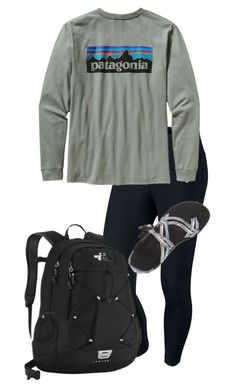 """Lazy day"" by preppy123 ❤ liked on Polyvore featuring mode, NIKE, Patagonia, Chaco en The North Face"