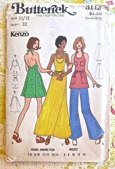 Butterick 3112 - Kenzo Womens Wrap Dress Pattern - Two Lengths and Tunic with Pants Dress Sewing Patterns, Vintage Sewing Patterns, Pattern Sewing, Sewing Ideas, Kenzo, Apron Dress, Pants Pattern, Neck Pattern, Maxi Wrap Dress