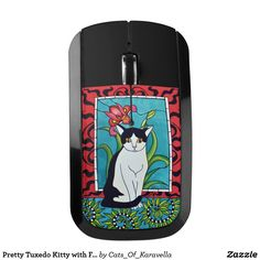 Pretty Tuxedo Kitty with Flowers Wireless Mouse by Cats of Karavella