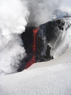 Feuer Berg Schnee