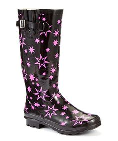 Cute wellies in black with stars from new look - the buckle at the side is useful.