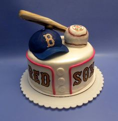 Great for a Groom's Cake ______________________________ o Attention Brides… Unique Cakes, Creative Cakes, Fancy Cakes, Cute Cakes, Fondant Cakes, Cupcake Cakes, Red Sox Cake, Biscuit, Sport Cakes