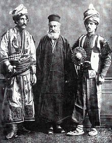 Description Two Kurds with an Orthodox cleric. From Les Costumes Populaires De La Turquie, taken by French photographer Pascal Sebah at the universal exposition in Vienna, Bergen, Old Pictures, Old Photos, Orthodox Catholic, Orthodox Priest, Empire Ottoman, The Kurds, Writers And Poets, French Photographers