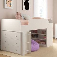 Amak Panel Twin Low Loft Bed with Drawers and Shelves Open Shelving, Shelves, Loft Bed Frame, Captains Bed, Low Loft Beds, Twin Platform Bed, Wood Source, Bed With Drawers, Headboard And Footboard