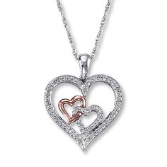 Diamond Heart Necklace 1/4 ct tw Sterling Silver/10K Gold  <3 <3 <3 Yeahh, this one is my favorite :)