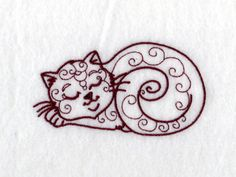 Swirly Cats Machine Embroidery Designs http://www.designsbysick.com/details/swirlycats