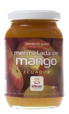 """Mermelada de mango elaborada con frutas seleccionadas y azúcar de caña. Ingredientes: mango, azúcar de caña. Elaborada con 60 gr de fruta por cada 100 de producto. Elaborada por las mujeres agrupadas en la Asociación """"La Dolorosa"""", y el azucar de MCCH en Ecuador. Apto para celiacos y veganos"""