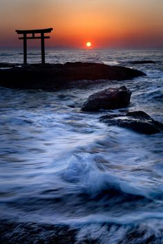 "Dawn in Kamiiso-no-Torii(Shrine Gate), Oarai Isosaki Shrine, Ibaraki, Japan - we saw this often as Oarai was ""our beach"""