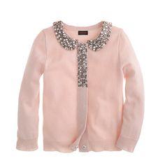 J.Crew - Girls' glitz-collar cashmere cardigan.....like it like it like it