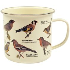 Dot & Bo Birdwatching Mug (165 ARS) ❤ liked on Polyvore featuring home, kitchen & dining, drinkware, filler, kitchen, mugs, accessories, bird mug, enamel mug and enamel cup