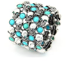 Skull Bracelet I have this on today, but all clear stones....
