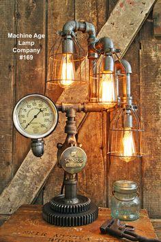 Steampunk Lamp, Antique Gear and Steam Gauge #169