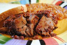 Tender & sweet crockpot brisket - very good and easy! Slow Cooker Recipes, Crockpot Recipes, Pork Recipes, Real Food Recipes, Yummy Food, Yummy Snacks, Crock Pot Cooking, Crock Pots, My Favorite Food