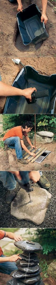 Looking to add a water feature to your yard? Discover simple and easy do it yourself water feature projects and ideas. Garden Crafts, Garden Projects, Diy Water Feature, Garden Fountains, Fountain Garden, Water Fountains, Garden Ponds, Concrete Fountains, Diy Water Fountain