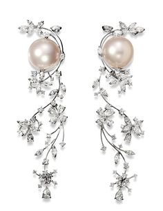 Seduction - Stefan Hafner - VENUS earrings 18K White Gold Pearl and Diamond Earrings White Australian Pearls