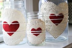 so sweet and easy to do!! Doilies & Hearts tied on to jars! cute Valentines Day decor!