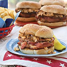 Bacon-Wrapped Barbecue Burgers:  This dressed-up burger is a true crowd-pleaser. If you pull the ground beef from your freezer, make sure it has been well wrapped and frozen for 3 months or less to ensure best flavor.  From: southernliving.com  Via: myrecipes.com