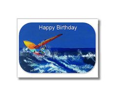 Sailboarder Happy Birthday Digital Card by CowberryMoonCards