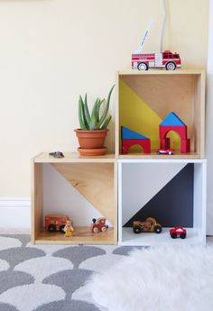 DIY Ikea toy storage hack from wall boxes!  Little boy's bedroom or nursery, mid-century colorful Scandinavian // Annabode.com