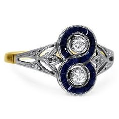 An Art-Deco ring with blue sapphires and white diamonds.