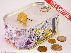 Kids Money Bank Self open tin can money bank by TheBlackHatDesign