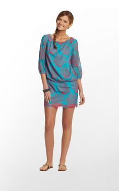 Cee-Cee Dress in Coral Mesh Lace, Snorkel Blue