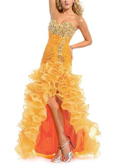 Breathtaking Organza & Satin Princess Strapless Sweetheart Beaded Ruched Long Slit Prom Dress Orange Prom Dresses, Beautiful Prom Dresses, Cheap Prom Dresses, Orange Dress, Homecoming Dresses, Wedding Dresses Plus Size, Bridal Wedding Dresses, Princess Prom Dresses, Mellow Yellow