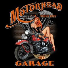 Vintage Hot Rod and Biker Pin-up Girl t-shirts and work shirts featuring nostalgic and modern designs of cars, motorcycles, spark plugs and auto shops. Garage Art, Garage Signs, Garage Bike, Bobber Motorcycle, Motorcycle Girls, Motorcycle Garage, Cafe Racer Build, Biker T Shirts, Bike Art